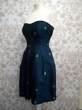 £65 NEW WAREHOUSE SPOTLIGHT GREEN JACQUARD PEACOCK PROM DRESS UK 8 US 4 EU 36