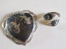 Ancien lot bijoux ethniques Thaïlandais en argent 925 : broche pend. bague t56