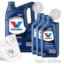 Car Engine Oil Service Kit / Pack 8 LITRES Valvoline All-Climate 20w-50 8L