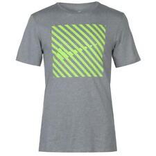 Nike Striped QT TShirt Mens Grey With Yellow Nike Tick Mens Small *2