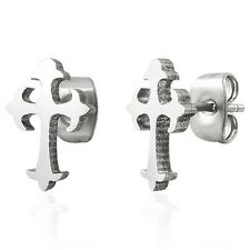 Stainless Steel Gothic Cross Silver Crucifix Stud Earrings - Boxed Petite