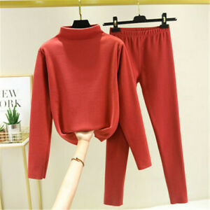 2 PCS Womens Winter Warm Turtle Neck Short Sweater+Loose Knitted Pants Sets Suit