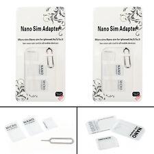 2Pcs Nano SIM Card to Micro Standard Adapter Converter Set For Samsung iPhone