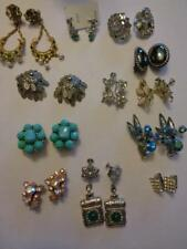 Lot Of 12 Vintage Clip On Screw Back Earrings Rhinestones Beads Bogoff Unsigned