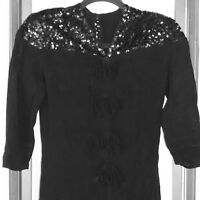 Women's VINTAGE Dress 1940s Rayon Crepe Manufacturer Tag Padded Sequins Black S