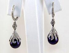 Purple Tahitian Pearl & Diamond Drop Earrings 14k White Gold 9mm .42Ct