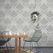 Crown M1158 Zahra Silver Grey Damask Luxury Wallpaper Cheap