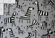 Hochwertiger Jersey Stoff gemustert Zebra grau, 220 g/m²