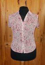 M&S cream off-white pink floral crinkle chiffon short sleeve blouse shirt top 16