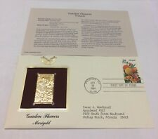 Garden Flowers Marigold Stamp, April 28, 1994 FDC and 22kt gold replica
