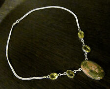 Stunning 925 Silver Overlay UNAKITE & Lemon Quartz Necklace