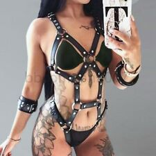 New Sexy Chain Bra Set PU Leather Cupless Handcuffs Lingerie Women Body Harness