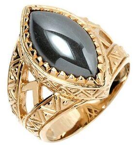 HEMATITE GOLD BRASS BRONZE MARQUE MARQUEE RING NEW