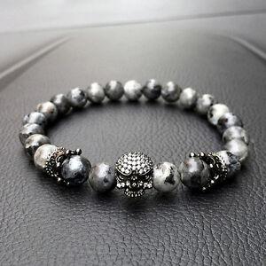 Hot Men CZ Skull Crown India Labradorite Stone Beads Bracelets Handmade Jewelry