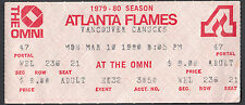 Vancouver Canucks at Atlanta Flames March 10 1980 Ticket Stub
