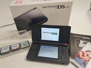 Nintendo DS Lite Black With Games, Mario Bros Original Box #612