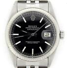Rolex Datejust Mens Stainless Steel 18K White Gold w/ Jubilee Band & Black Dial