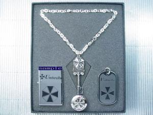 Resident Evil Biohazard Umbrella Army Silver Pin Dog Tag Necklace PG