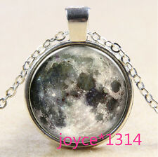 Vintage moon Cabochon Tibetan silver Glass Chain Pendant Necklace #569