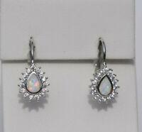 Echt 925 Sterling Silber Ohrringe synth Opal weiß Zirkonia Tropfen Nr 75