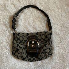 COACH Black Signature Canvas & Leather Soho Flap Bag #11860