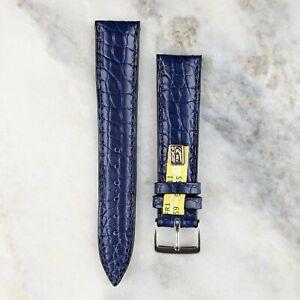 Genuine Louisiana Alligator Leather Watch Strap - Navy - 18mm