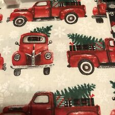 Christmas 🎄 Red Old Truck Fabric Panel 1 Yard Cotton Quilt Fabric New Free Ship