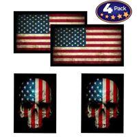 American Flag & Skull Flag HardHat & Helmet Stickers: 4 Decal Value Pack...