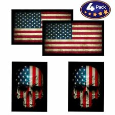 American Flag & Skull Hardhat Helmet Stickers 4 Patches Decal Value USA Made
