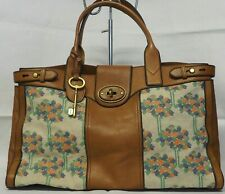 Fossil Vintage Tan Leather and Floral Cross Stitch Embroidered Weekender Tote