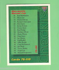 1994-95 FUTERA  CRICKET CARD - #109 CHECKLIST FOR CARDS 76 to 110