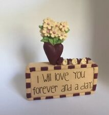 Love You Forever Flower Figurine NEW Gift Country Home Decor Blossom Bucket
