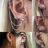 Retro Women Bohemian Ear Stud Clip Earrings Bohemian Silver Tone Jewelry