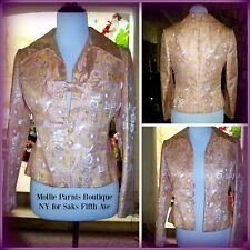 VTG 50 s 60 s Mollie Parnis Saks Fifth Ave Floral Jacquard Pink Gold Blazer  ... f2ce85989