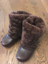 Frye Leather Shearling Chunky Boots Clogs Foldover Brown Sz 6.5B