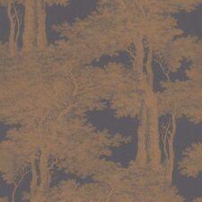 Métallique cuivre arbres papier peint sur charbon collez le mur de toile de jouy 605426
