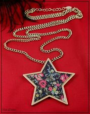 MONSOON ACCESSORIZE CHINTZ FLOWER GOLD STAR PENDANT NECKLACE. TICKET PRICE £9 !!