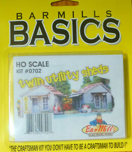 Bar Mills HO #702 Twin Utility Sheds -- Laser-Cut Wood Kit