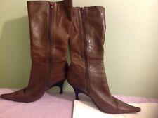 Ladies Brown  long Leather Mid Calf side Zip Fastening  wedge Heel Pointed Front