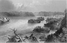 CANADA Falls on St. John's River - BARTLETT Antique Print Engraving
