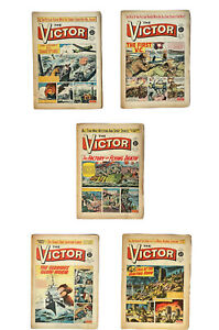 5 x Victor Comics dated 1962 No 51,52,53,54,55 FREE UK P&P Consecutive Run