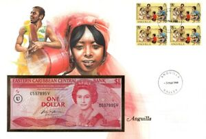 EAST CARIBBEAN ANGUILLA 1 Dollar 1988 P-17 UNC *perfect banknote*Banknote Cover