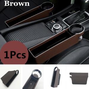 1x Brown Car Seat Seam Storage Box Phone Coins Organizer Accessory Cup Holder