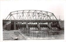 D34/ Independence Wisconsin Wi Postcard Real Photo RPPC c40s New Bridge