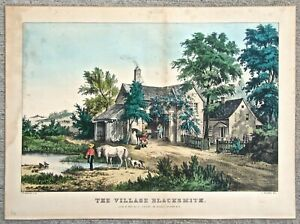Nathaniel Currier Hand Colored Lithograph The Village Blacksmith