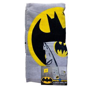 "DC Comics 2-Piece Batman Towel Set  25"" X 50"" & Washcloth 12"" X 12"" 100% Cotton"