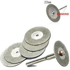 5 PCS 22mm Emery Diamond cutting blades Drill Bit+1 Mandrel for Dremel Setab BBU