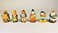 Vintage Japanese Kutani Moriage Porcelain Gods Of Good Fortune Figurines Set