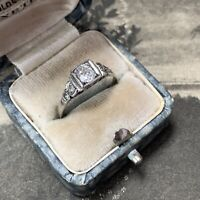 Antique Art Deco Platinum and Oval Old Cut Diamond Ring, 0.52ct Diamond, UK O.5