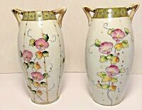 Pair Of Antique Nippon Gold Gilded Vases With Old Cherry Blossom Mark